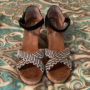 White and black Toms wedges